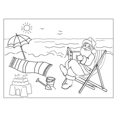 Christmas In July Coloring Pages Beach Time