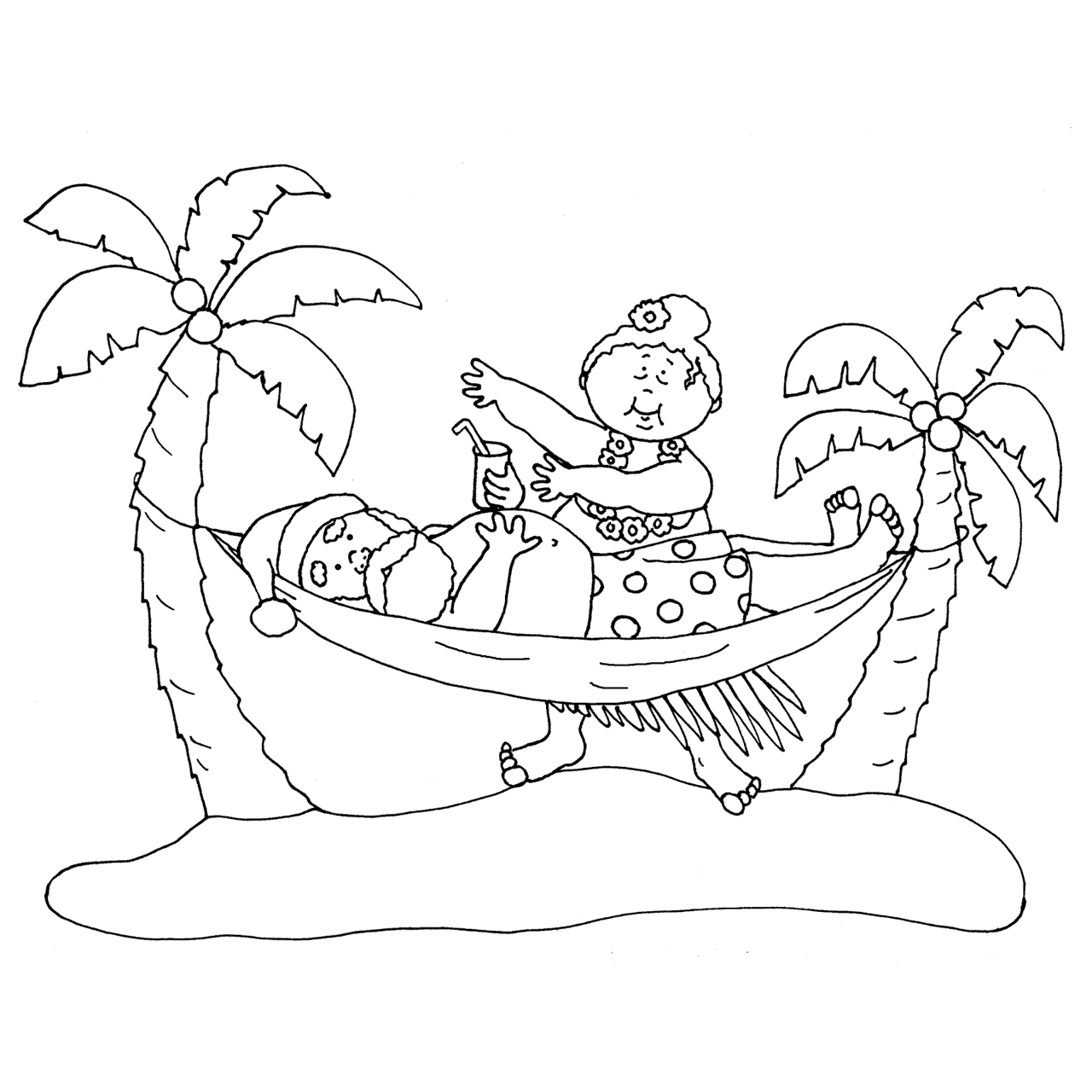 Christmas In July Coloring Pages Santa in Hammock