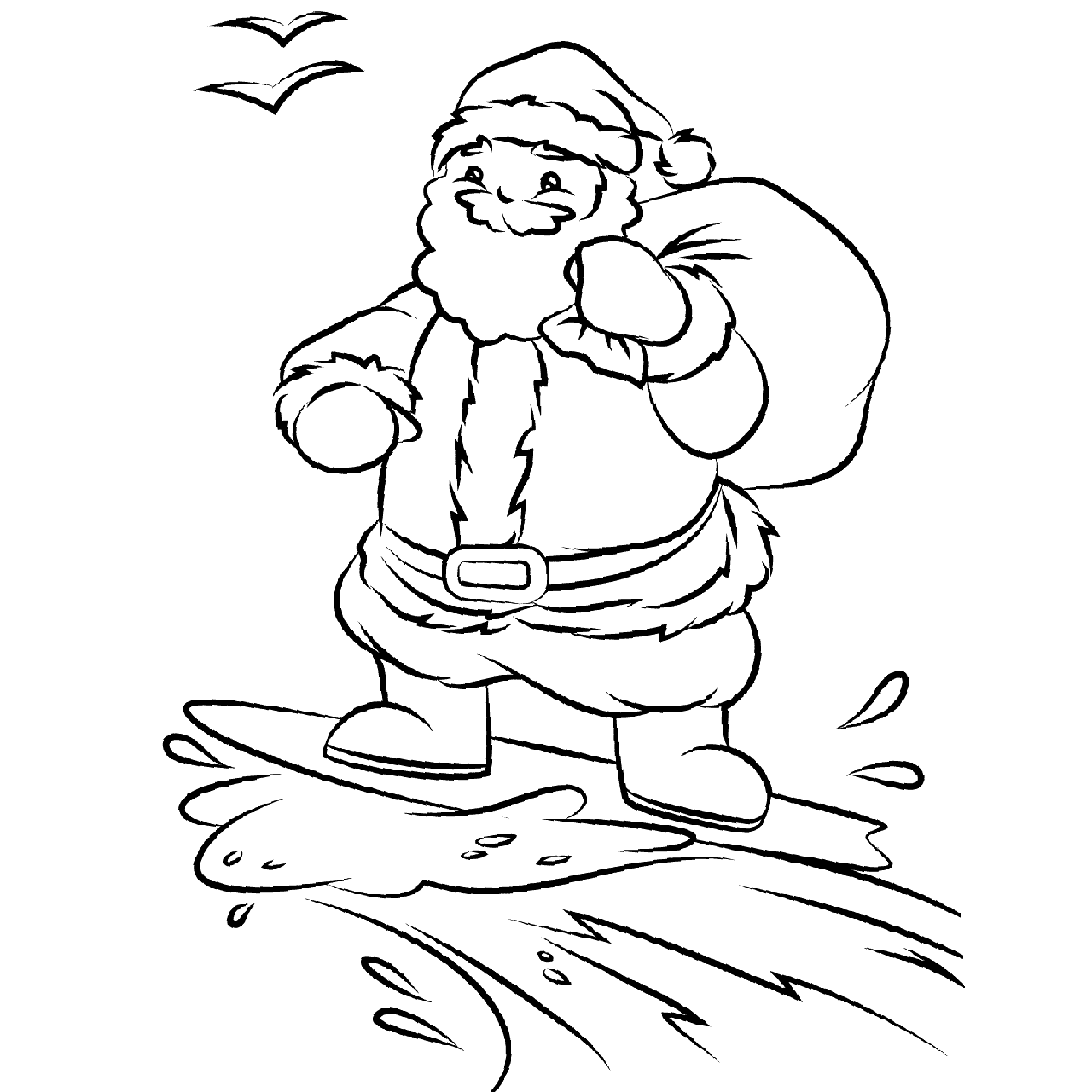 Christmas In July Coloring Pages Santa is Surfing