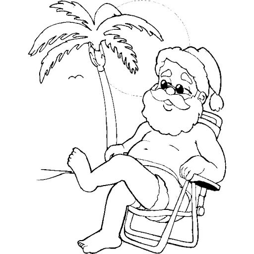 Christmas In July Coloring Pages Santa with Coconut Tree