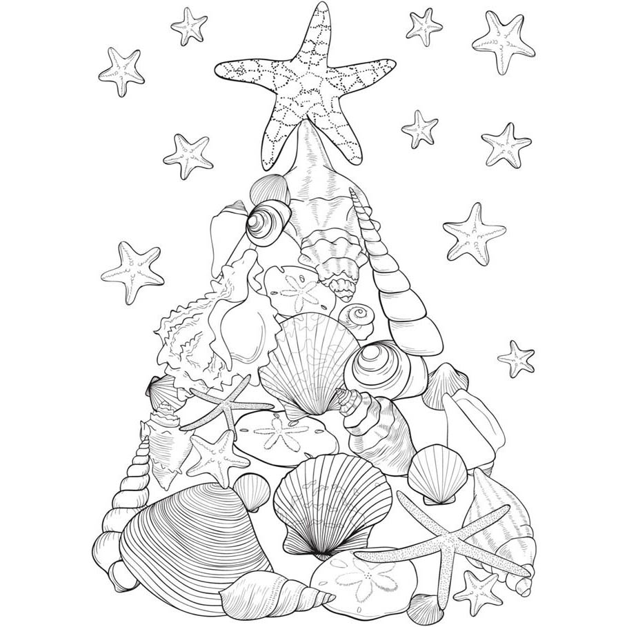 Christmas In July Coloring Pages Seashells Christmas Tree